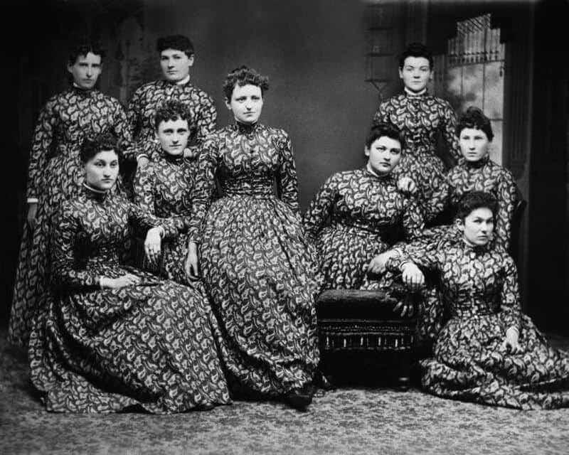 Ladies in calico dresses