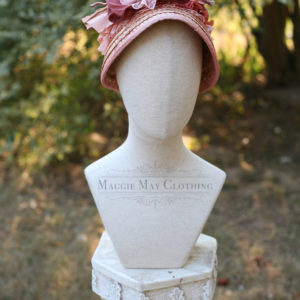 bustle era straw bonnet
