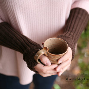 Long fingerless knit gloves