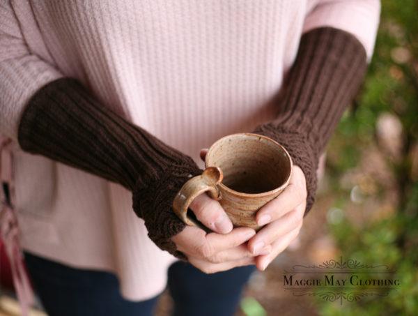 Long fingerless knit gloves