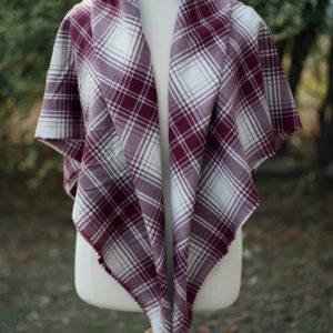 Fine 100% wool plaid shawl